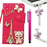 Moto G Case, 3D Bling Crystal Diamonds Leather Wallet with Credit Card Slot Flip Diamond Case Cover for Motorola MOTO G XT1032 + Gift Free Stylus (ramdom color) + one Free Unique Butterfly Anti Dust Earphone Jack Plug by CASELO