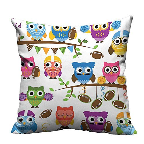 YouXianHome Print Bed Pillowcases Owls Cheerleader League Team Helmet Coach Football Sports Themed Art Washable and Hypoallergenic(Double-Sided Printing) 27.5x27.5 inch ()