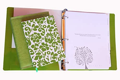 Breast Cancer Treatment Notebook Planner and Journal & Binder Gift Set, for Cancer Patients - Ready for Recovery (3 Pieces, Green Floral)