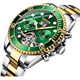 Haiqin Men's Mechanical Watches Automatic Tourbillon Stainless Steel Analog Waterproof Wrist Watch for Men (Green)