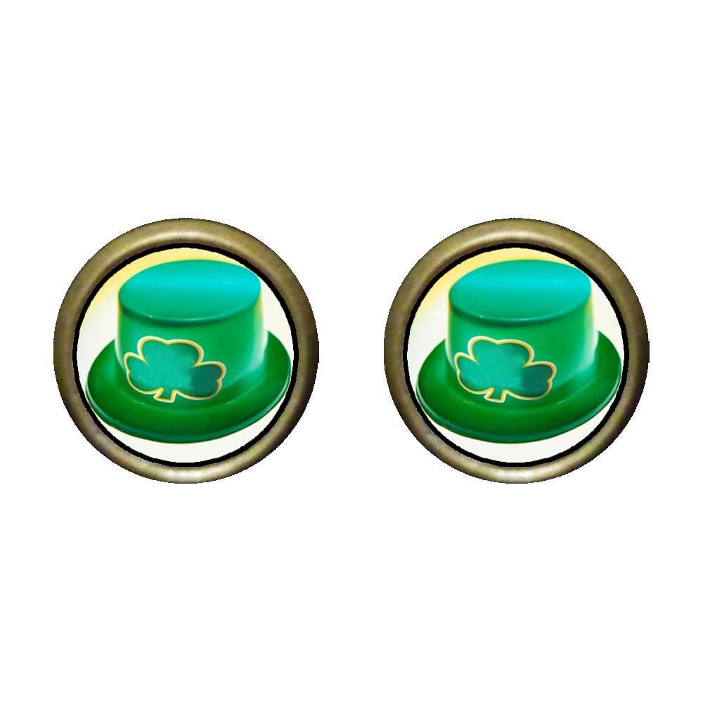GiftJewelryShop Bronze Retro Style green Ireland shamrock hat Photo Stud Earrings 12mm Diameter