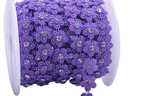 KAOYOO 10 Yards New Flower Shaped with Rhinestone Chain Sew On Trims Wedding Dress Beaded Trim ()