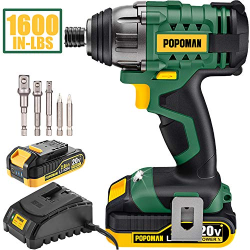 "Impact Driver, 1600In-lbs 20V MAX Impact Drill, 2000mAh Battery, 60-Min Fast Charger 2A, 1/4"" All-metal Hex Chuck, 0-2900RPM Variable Speed, 6 Pcs Accessories, Tool Bag Included"