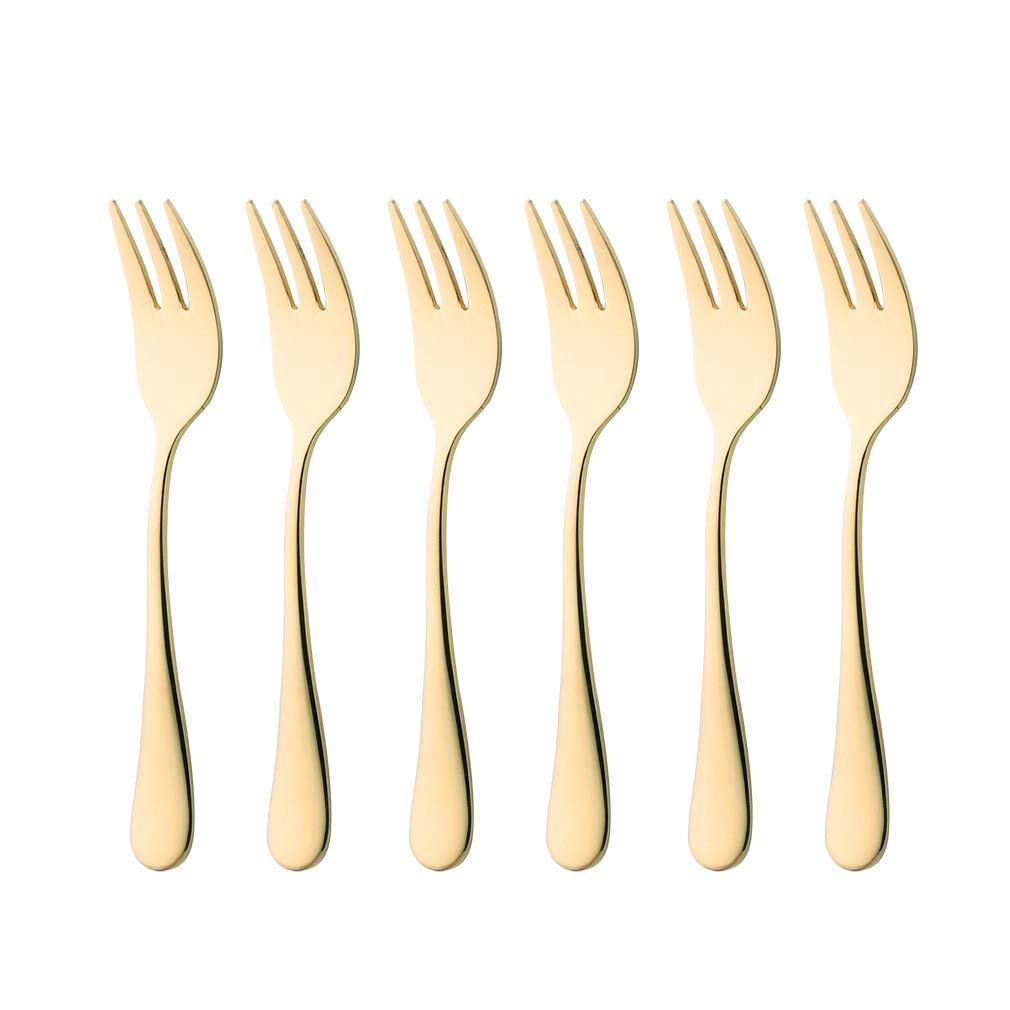 6 Piece Gold Oyster Fork 5.5-inch Stainless Steel Cocktail Cake Forks Set for 6 Silverware Flatware Cutlery Utensils Dinnerware Mirror Polished Dishwasher Safe