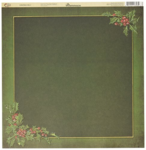Reminisce Santas (Reminisce Here Comes Santa 12 by 12-Inch Double Sided Scrapbook Paper, Christmas Holly)