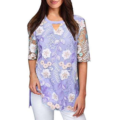 Simayixx Women's Short Sleeve Tops Casual V-Neck T-Shirts Summer Sexy Lace Blouses Flower Embroidered Tee Shirts -