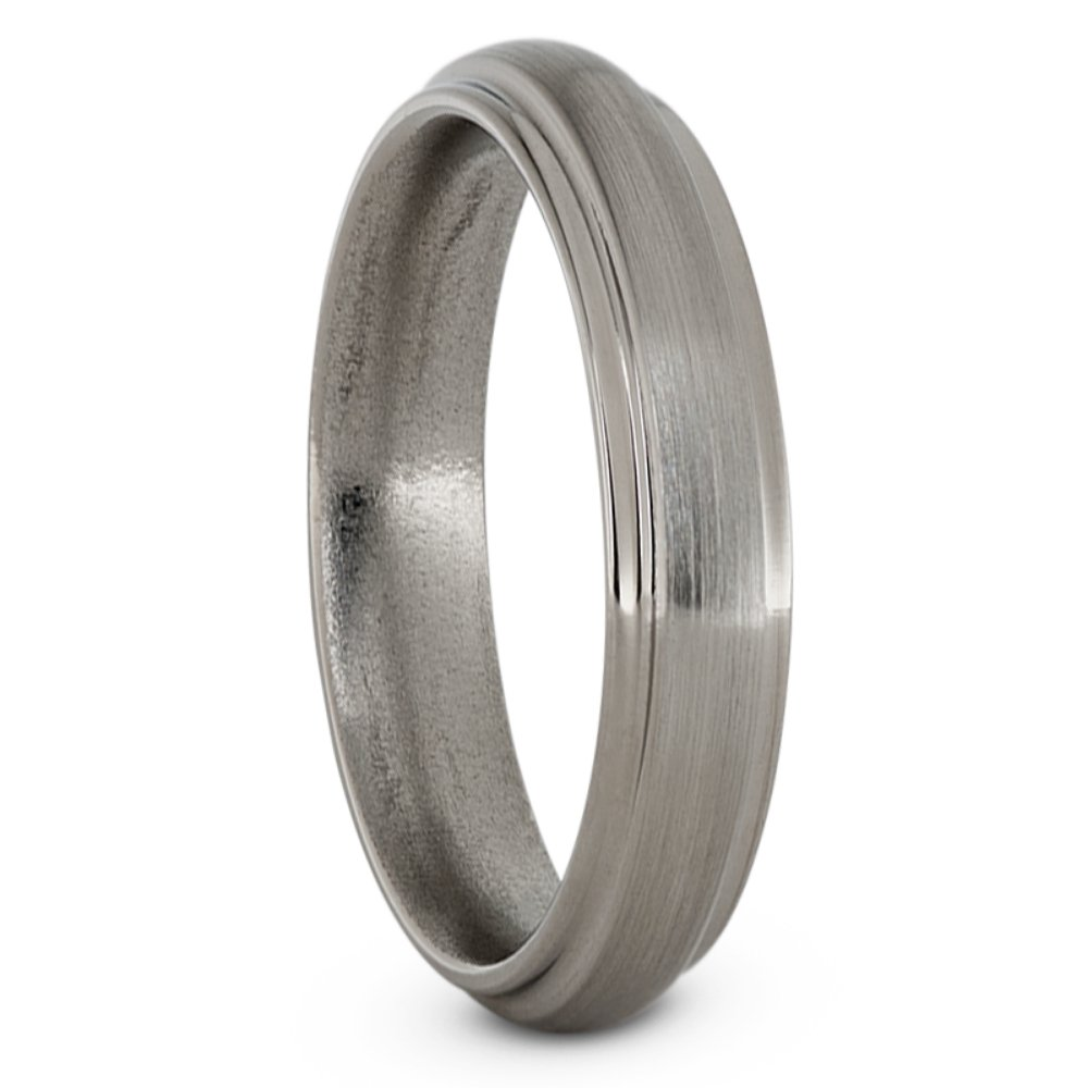 Brushed Titanium 5mm Comfort-Fit Grooved Wedding Band, Size 13.5