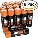 AmVolt AAA Batteries [10-YEAR LIFE] Premium LR3 Alkaline Battery 1.5 Volt Non Rechargeable Batteries for Watches Clocks Remotes Games Controllers Toys & Electronic Devices - 2027 Expiry Date (16 Pack)