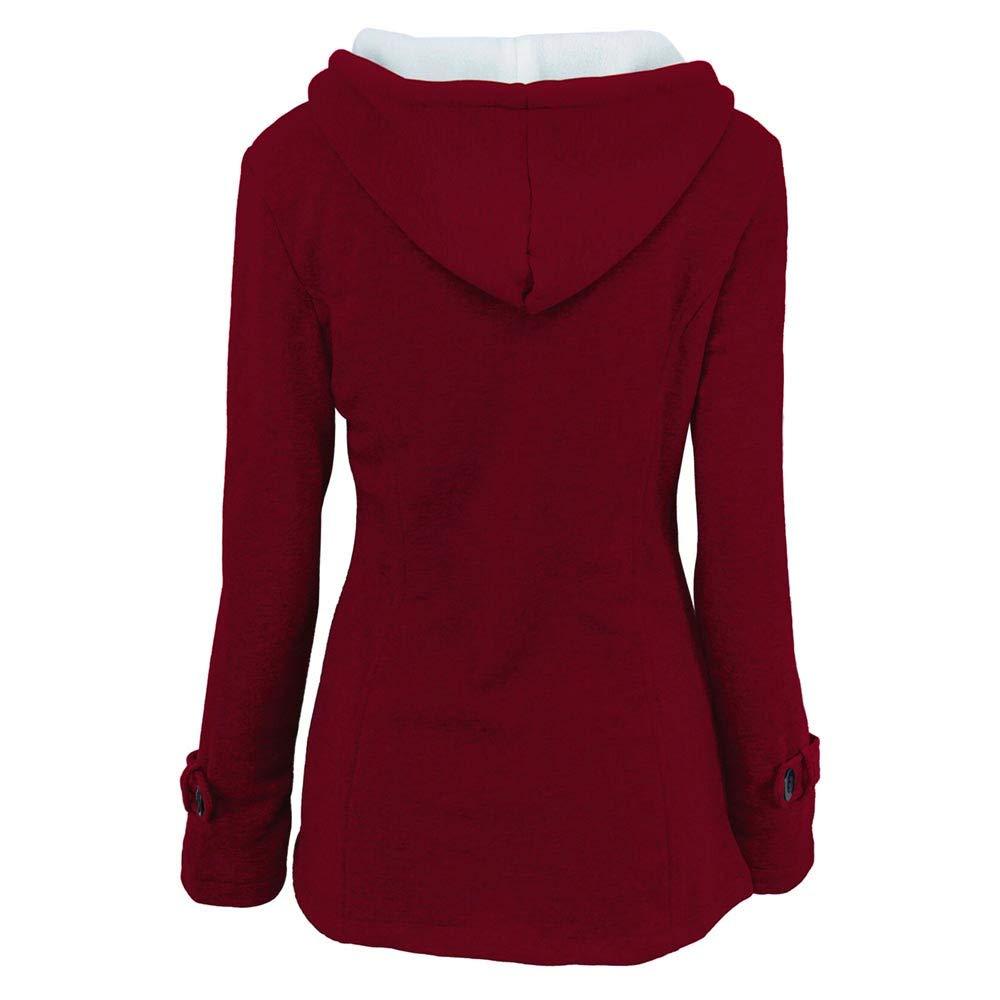 Femme Pas Cher Printemps Manteaux à Capuche, Gilet Bouton éPais Blouson Hiver Hoodie Veste Jacket Casual Outwear Coat Manteau A La Mode Rouge