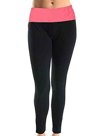 579157159d139 MOPAS Yoga Pants with Fold Over Solid Waistband at Amazon Women's Clothing  store: