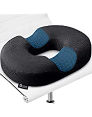 Donut Pillow Hemorrhoid Tailbone Cushion – 100% Memory Foam – Great For Coccyx, Prostate, Sciatica, Bed Sores, Post-Surgery Pain Relief – Orthopedic Firm Seat Pad for Home, Office, Or Car