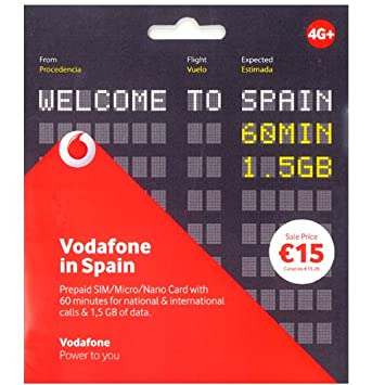 Vodafone sim card in Spain Prepaid with 60 min and: Amazon co uk