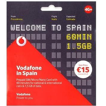 Tarjeta SIM Vodafone in Spain Prepago con 60 min y 1,5 Gb ...
