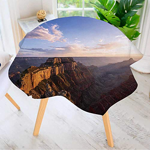 "Leighhome Spillproof Polyester Fabric Round Tablecloth-Wotans Throne,Cape Royal at Sunset,Grand Canyon North Rim,AZ Elegant Printed Table Cloth 35.5"" Round"