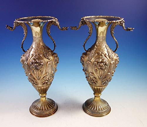 Vase Sterling - Camusso Peruvian Sterling Silver Vases Pair with Applied Winged Griffins (#2914)