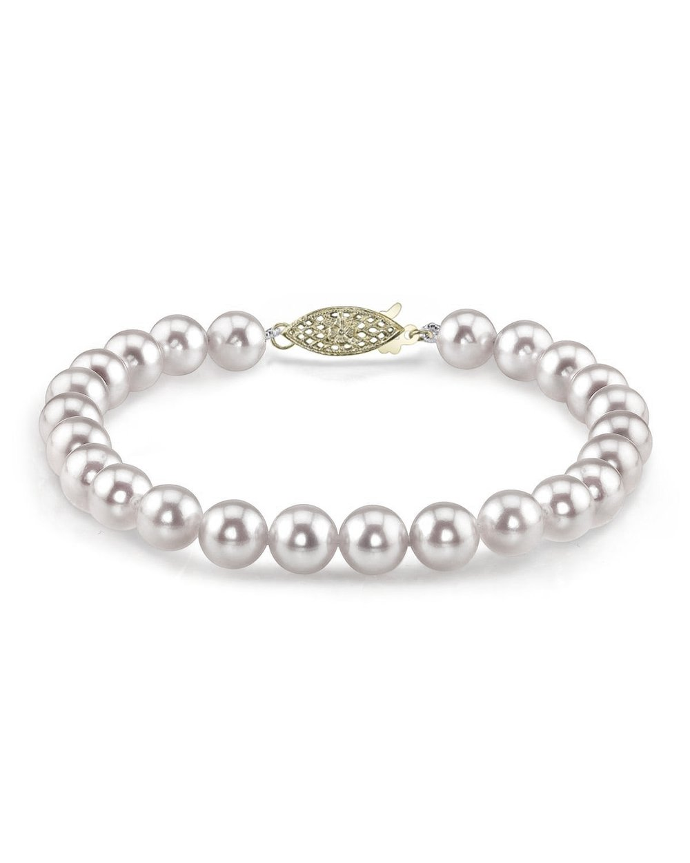 THE PEARL SOURCE 14K Gold 9-9.5mm AAA Quality Round White Japanese Akoya Saltwater Cultured Pearl Bracelet for Women by The Pearl Source