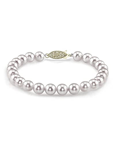 THE PEARL SOURCE 14K Gold 7.5-8mm Round White Japanese Akoya Saltwater Cultured Pearl Bracelet for Women