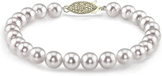 THE PEARL SOURCE 14K Gold 7-7.5mm Hanadama Quality White Japanese Akoya Saltwater Cultured Pearl Bracelet for Women