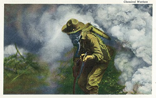 US Army - Soldier in Gas Mask; Chemical Warfare (12x18 Art Print, Wall Decor Travel Poster) - Chemical Warfare Mask