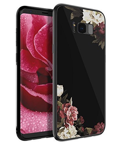 HUATRK Samsung Galaxy S8 Plus Case Beautiful Flowers for Girls/Women Tempered Glass & Hard Plastic Back Cover and TPU Edge Protection Slim Fit Shock Absorption Protective Cover (Cover Girls Beautiful)