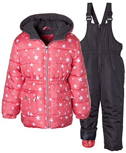 Pink Platinum Girls' Little' Printed Super Snowsuit, Coral, - Snowsuit Super