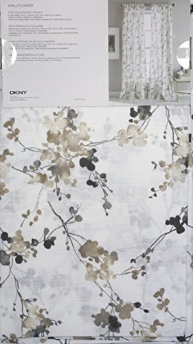 Neutral Floral Pattern on White DKNY Pair of Extra Long Window Rod Pocket Panels Curtains Drapery Set of 2, Beige, Tan, Taupe, Gray on White -- Wallflower -- 50 Inches by 96 Inches