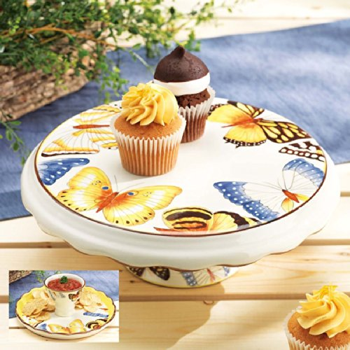 - Cake Stand Cupcake Plate W/ Pedestal and Chip and Dip Server Round-- Two in One Piece Butterfly Collection