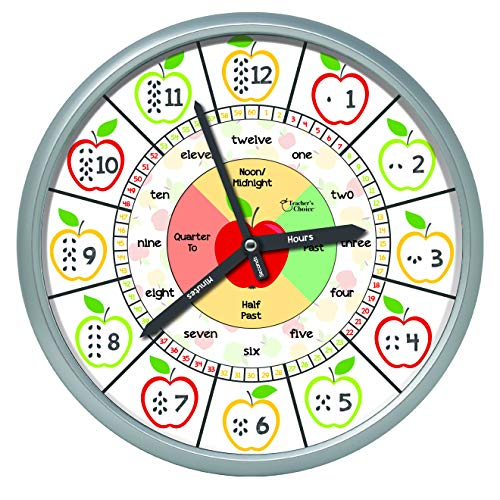 Educational Wall Clock - Silent Movement Time Teaching Clock for Teacher's Classrooms and Kid's Bedrooms Apple Seeds