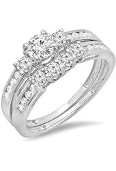 1.15 Carat (ctw) 14k White Gold Round Diamond Ladies 3 Stone Bridal Engagement Ring Set Matching Band