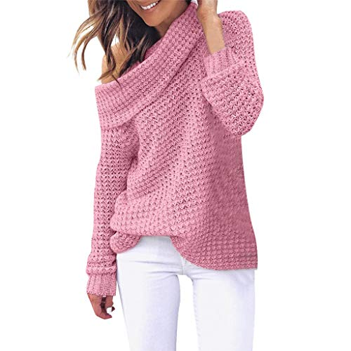 NUWFOR Women Shoulder Knitting Pullover Long Sleeve Blouse Solid Color Casual Sweater(Pink,US:12/CN:XXL) ()