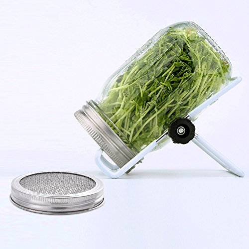 Hestya Sprouting Lids for Wide Mouth Mason Jars 2 Pack 304 Stainless Steel Strainer Lid for Canning Jars and Seed Sprouting Screen