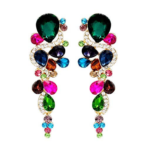 Iris Island Womens Austrian Crystal Rhinestone drop Dangle Earrings Multi-Color for Proms Wedding Party
