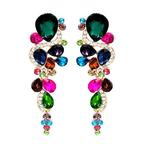 Multi Color Earrings Chandelier - Iris Island Womens Austrian Crystal Rhinestone drop Dangle Earrings Multi-Color for Proms Wedding Party