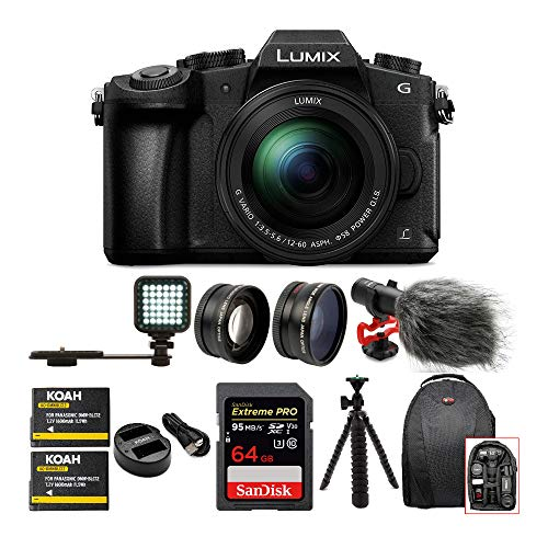 Panasonic LUMIX G85 Mirrorless Camera with 12-60mm Lens, Battery and Dual Charger, Condenser Microphone, 64GB SD Card, Backpack, Tripod, 2-Piece Lens Set and LED Video Light Bundle (8 Items)
