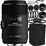 Sigma 105mm f/2.8 EX DG OS HSM Macro Lens for Canon EOS Cameras 14PC Accessory Kit. Includes Manufacturer Accessories + 3PC Filter Kit (UV-CPL-FLD) + 4PC Macro Filter Set (+1,+2,+4,10) + Cap Keeper + Microfiber Cleaning Cloth