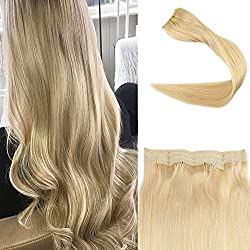 Full Shine 20inch Straight Fish Line Remy Human Hair Extension One Piece Blonde 100g Double Weft Mircale Wire Fish Line Hair Extension Hairpiece