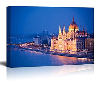 Beautiful Parliament View in Budapest at Night Over The River Danube in Night - Canvas Art Wall Art - 24