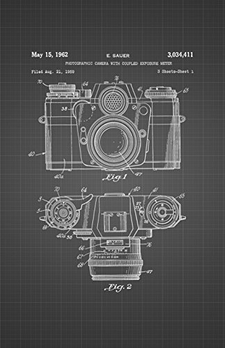 Framable Patent Art PAPSSP132BB The Original Poster Art Print Vintage Camera Photography 11in by 17in Patent, Black Blueprint -