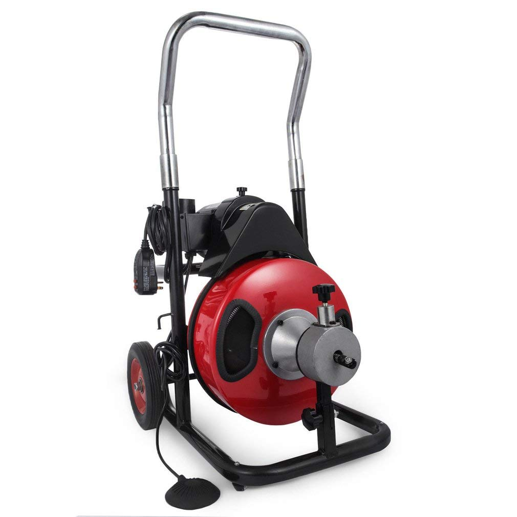 1/2'' 50FT Sewer Snake Drill Drain Auger Cleaner, 250W Electric Pipe Drain Auger Cleaning Machine w/4 Cutters For 2'' to 4'' Pipes For Sinks, Showers & Floor Drains by GiODLCE