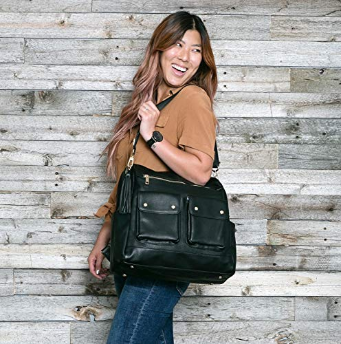 Faux Vegan Leather Multifunctional Diaper Bag, Stylish Travel Bag for Parents