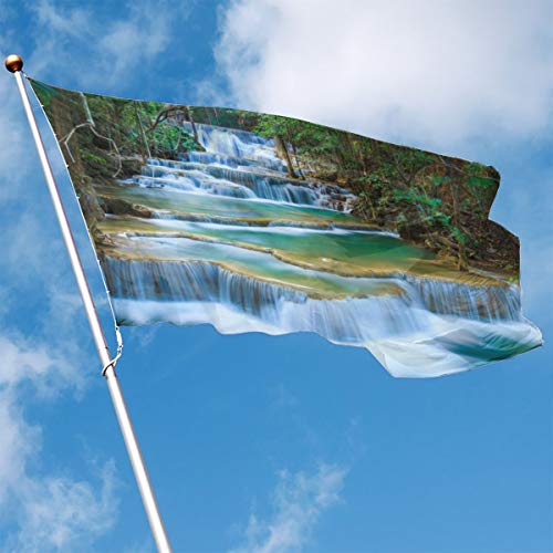 YUANSHAN Home Garden Flag Deep Forest Waterfall Polyester Flag Indoor/Outdoor Wall Banners Decorative Flag 3' X 5'