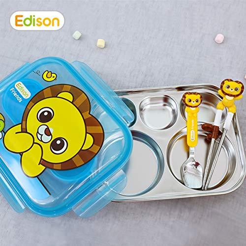 Lunch Lions Box (Edison Smart Stainless Divided Platter with Spoon and Fork Case Lid, Stainless Steel Divided Bento Lunch Box Plate for Babies, Toddlers and Kids, BPA free plate (Blue-Lion))