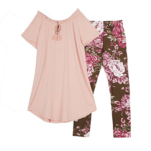 Amy Byer Big Girls' Scoop Neck Tunic and Legging Outfit Set, Rose Top Legging, M