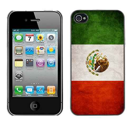 Omega Case PC Polycarbonate Cas Coque Drapeau - Apple iPhone 4 / 4S ( Mexico Grunge Flag )