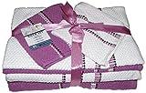 6 Pcs Bath towel Set: 2 Bath Towels 2 Hand Towels 2 WashCloths. (White / Violet)
