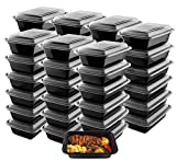 50-Pack Meal Prep Plastic Microwavable Food Containers meal prepping & Lids.'{24 OZ.}' Black Rectangular Reusable Storage Lunch Boxes -BPA-free Food Grade- Freezer Dishwasher Safe -'PREMIUM QUALITY'