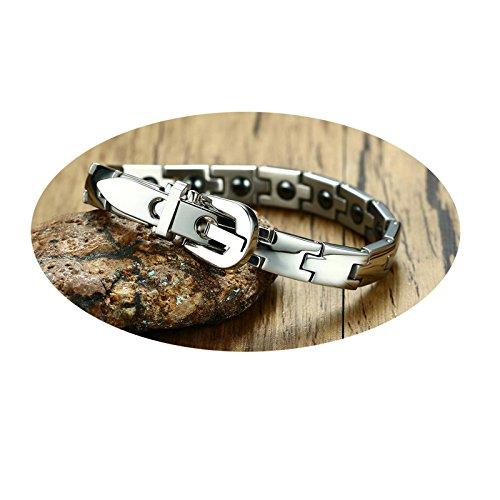 MoAndy Bracelets with Charms Stainless Steel Bangle Bracelets for Men Black Stone Inlay Silver Bracelet