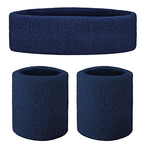 GOGO Sweatband Set Sports Athletic Exercise Headband Wristband Set Navy