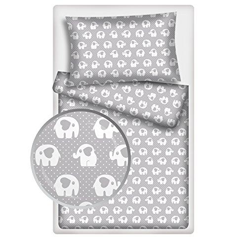 Kinderbettwäsche viele Designs 2-tlg. 100% Baumwolle 40x60 + 100x135 cm (Elefant-Herz grau)