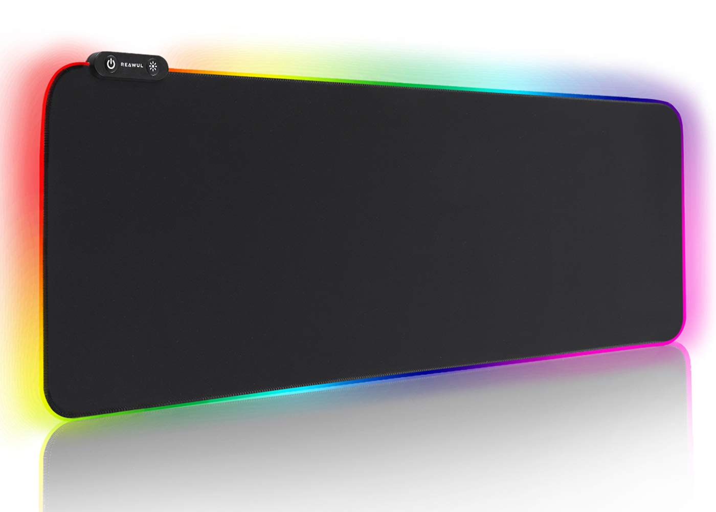 Large RGB Gaming Mouse Pad - Reawul 14 Modes Oversized Glowing Led Extended Mousepad, Anti-Slip Rubber Base and Waterproof Surface, Extra Large Soft Led Computer Keyboard Mouse Mat - 31.5 x 11.8in by Reawul